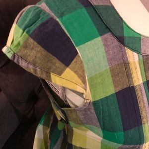 Angie Green Plaid Shirt Dress